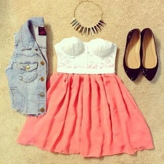 dress crop tops skater skirt pariscoming jewels shoes jacket ballet flats etc. blouse tank top lace dress necklace coat top skirt crop too denim ballerina lace too coral denim jacket lace outfit fashion jumpsuit pink skirt