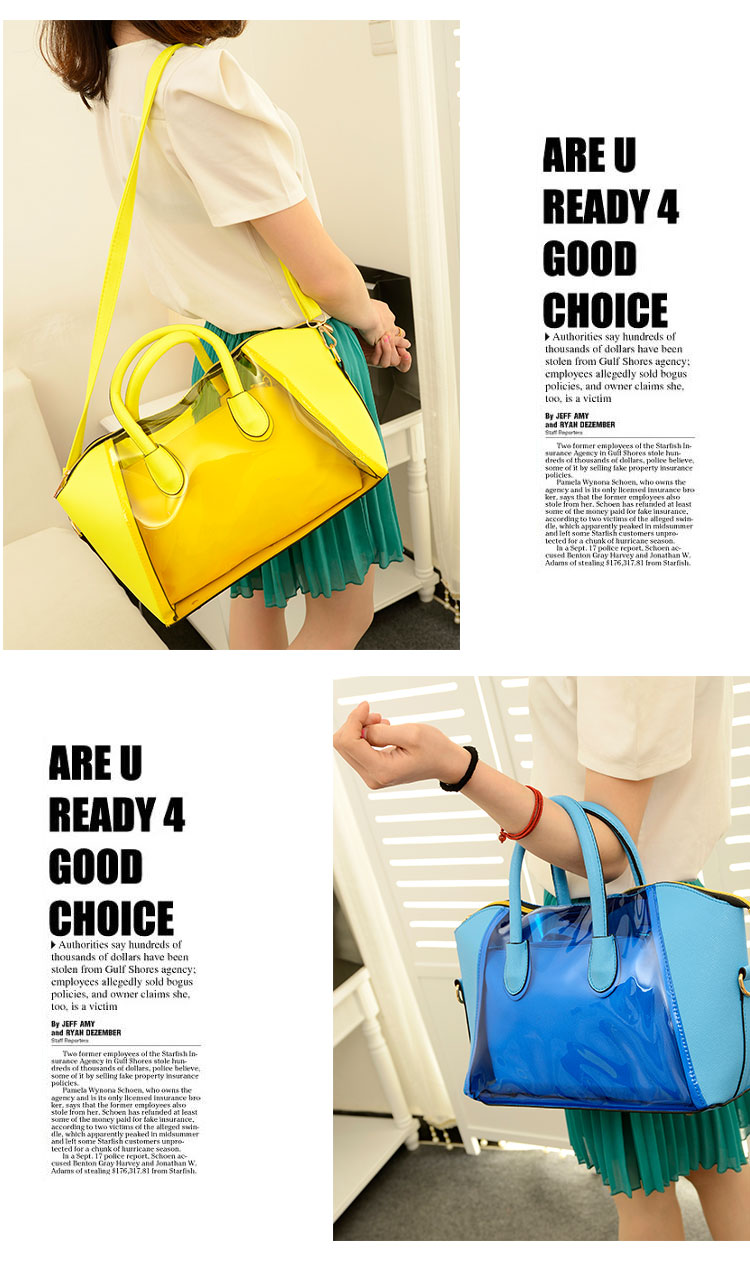 Free shipping 2013 women's handbag neon candy color smiley bag transparent bag handbag messenger bag-inMessenger Bags from Luggage & Bags on Aliexpress.com