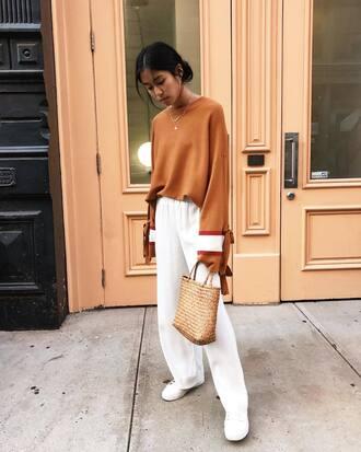 sweater bag tumblr knit rust pants wide-leg pants white pants sneakers white sneakers