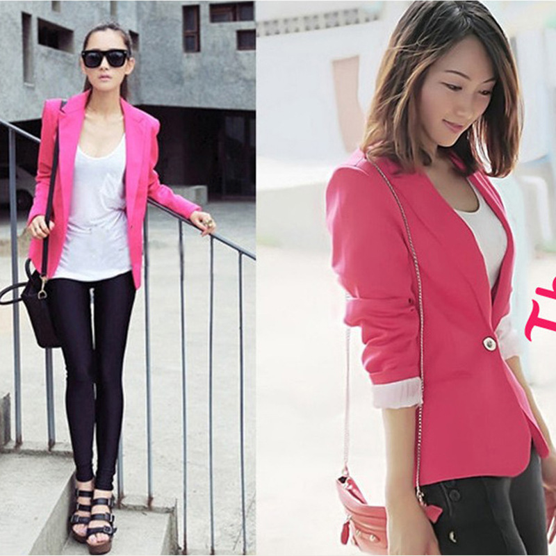 sale pure color blazer women fashion jackets coat ladies suits ...