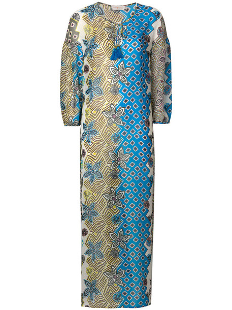 Tory Burch dress beach dress beach women print blue silk