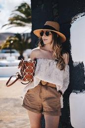 shorts,top,hat,sunglasses,bag,summer essentials,brown shorts
