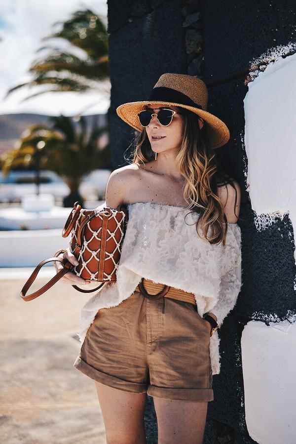 shorts top hat sunglasses bag summer essentials brown shorts