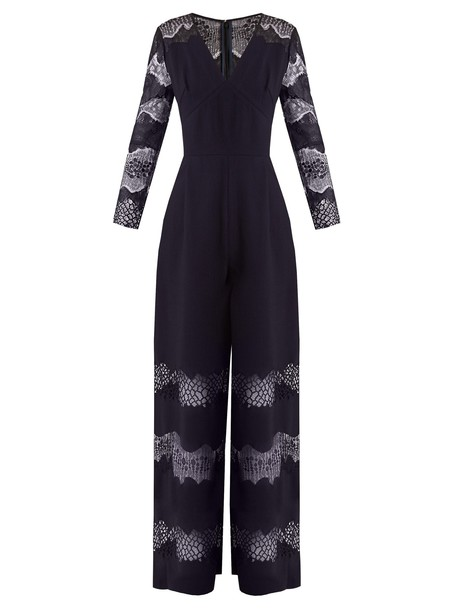 Huishan Zhang jumpsuit lace navy