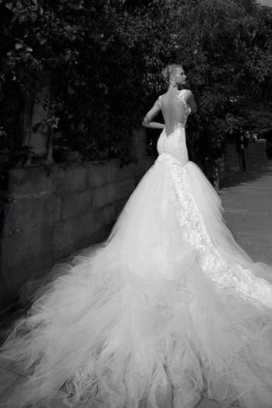backless white dress lace dress wedding dress mermaid