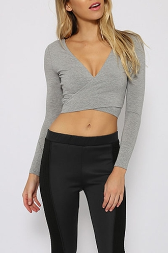 top zaful grey grey sweater crop tops minimalist high waisted jeans wrapped criss cross deep v long sleeves black back to school fall outfits