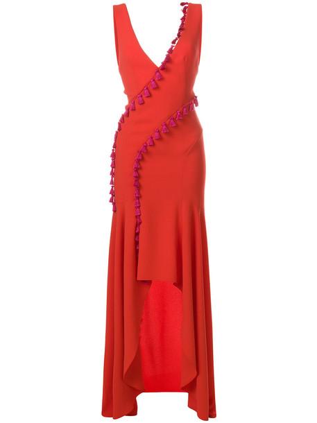 Galvan dress tassel women slit red