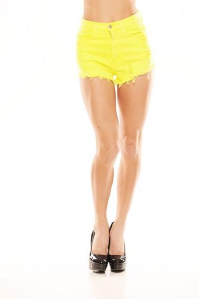 shorts yellow High waisted shorts