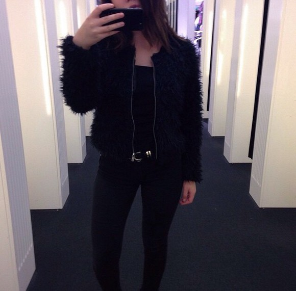 girly grunge girl jacket blackeverything fur faux fur fauxfur vest