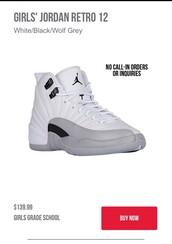 shoes,size 4,retro jordans,jordans,white,jordan retro 12
