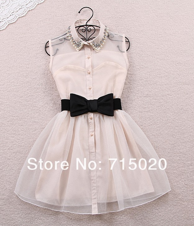 Free shipping wholesale pearl diamond gauze small lapel tall waist dress sleeveless mini dress (with belt) s63