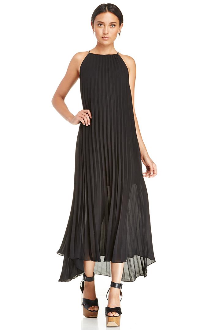 Dailylook: line & dot pleated maxi dress in black xs