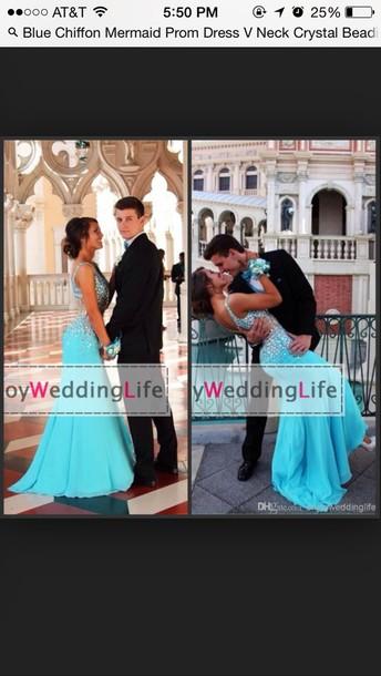 dress prom dress blue dress 2015 blue v neck chiffon