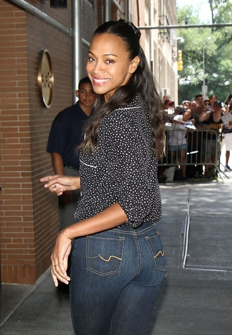 jeans zoe saldana top black top high waisted jeans long sleeves polka dots