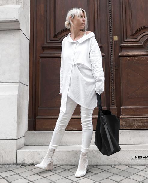shirt tumblr white shirt oversized oversized shirt denim jeans white jeans skinny jeans boots white boots all white everything velvet velvet boots