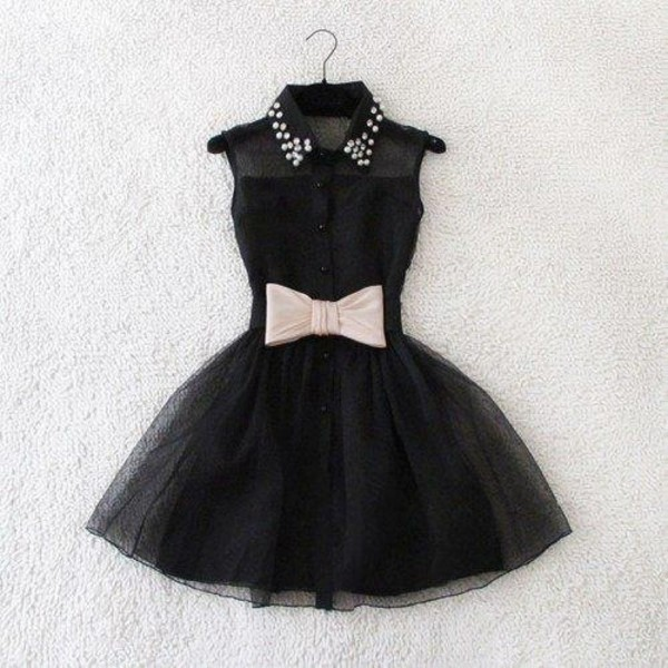 dress bkack bow studded