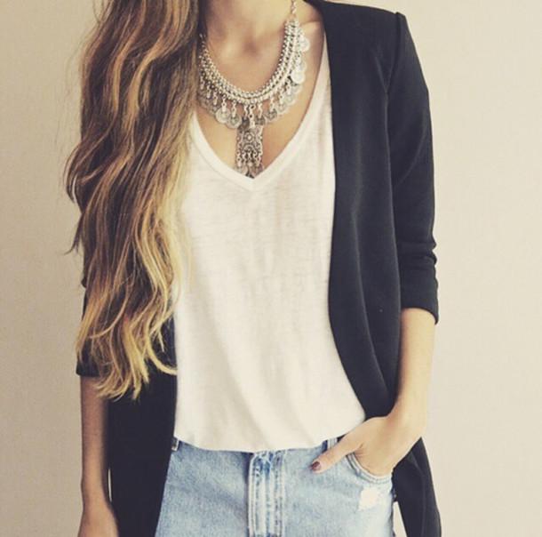 jacket top necklace denim fashion jewels jeans nail polish