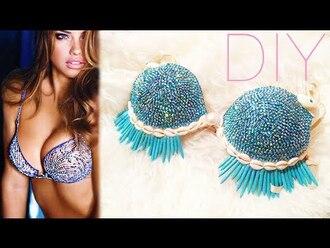 top bralette bra bralet top diamonds diamantes diamanté sparkle shell fringe bikini fringes turquoise blue victoria's secret