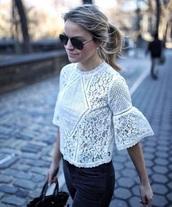 blouse,romantic trend,white top,lace top