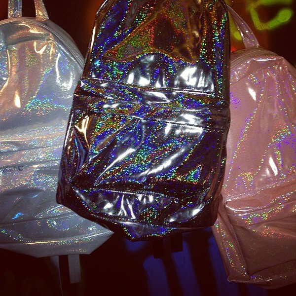 bag backpack glitter pink white black sparkle pastel rainbow colorful
