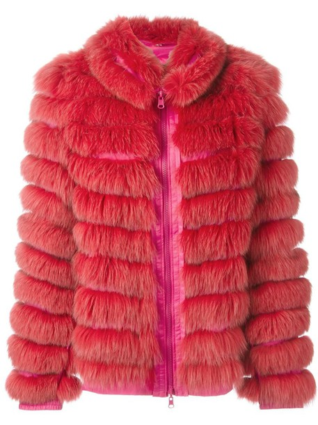 jacket fur fox women silk purple pink