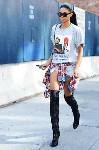 shirt sunglasses shorts bag flannel boots shoes edgy blouse grey prints old school