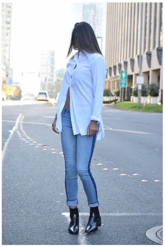jeans blouse boots paneled shirtt need it please