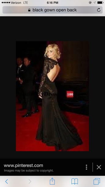 dress black laced gown open back