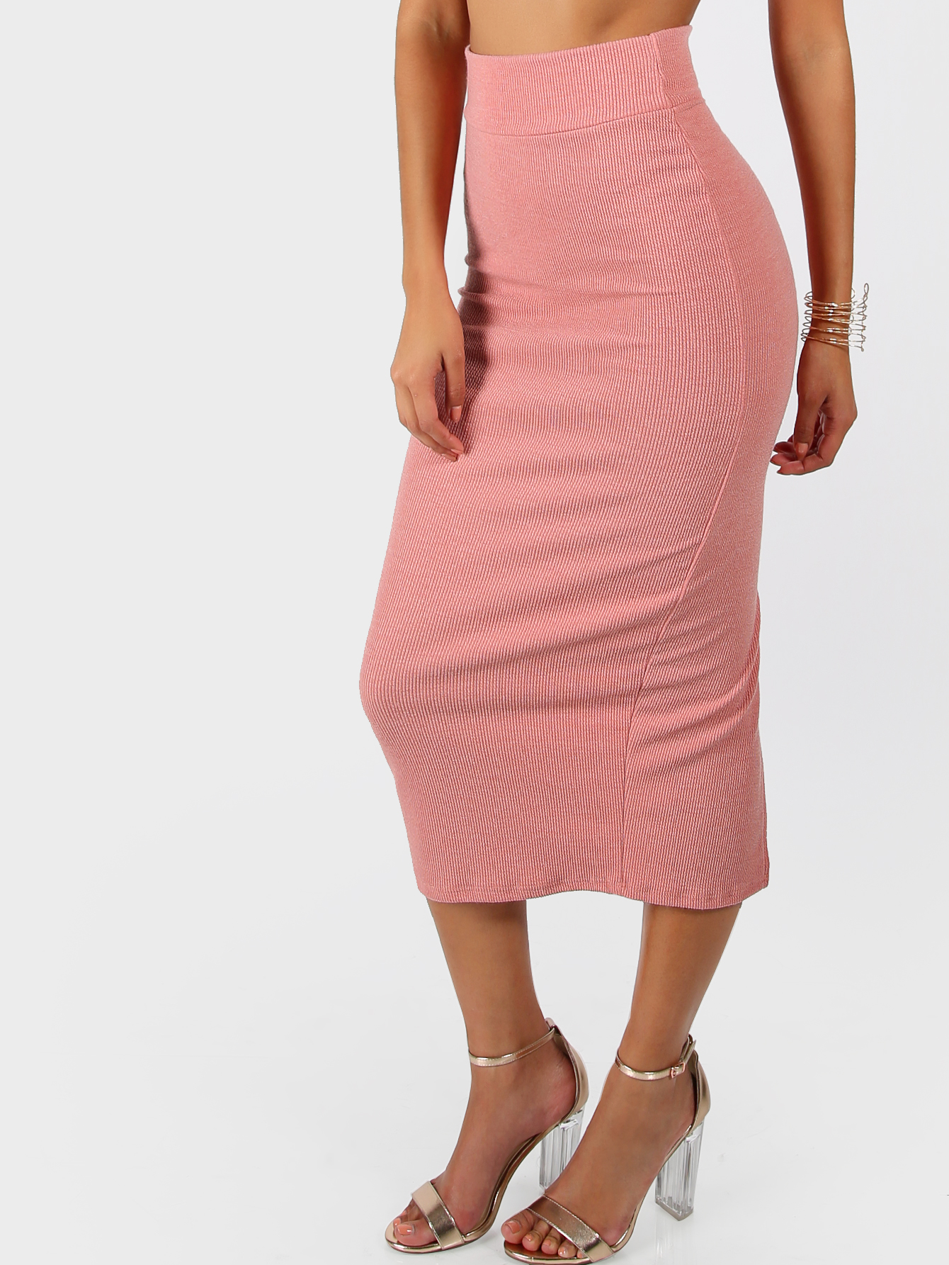 Ribbed Midi Skirt BLUSH -SheIn(Sheinside)