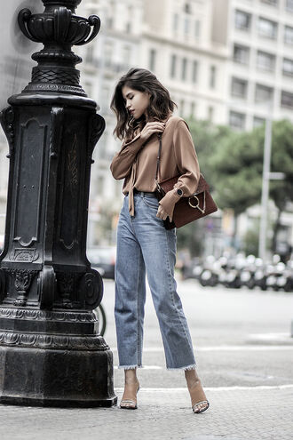 blouse tumblr jeans denim blue jeans frayed denim frayed jeans cropped jeans camel beige shirt bag brown bag chloe chloe bag chloe faye bag fall outfits work outfits french girl style