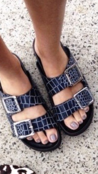 shoes blue shoes blue flat shoe flat animal birkenstock style birkenstocks black