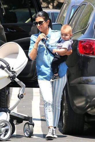 pants stripes striped pants shirt kourtney kardashian sunglasses shoes