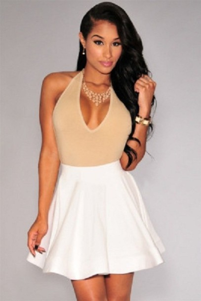 Skirt: white mini, skater, black skater skirt, sexy dress, wots ...