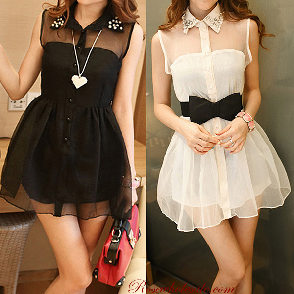 dress lace black white bow diamonds