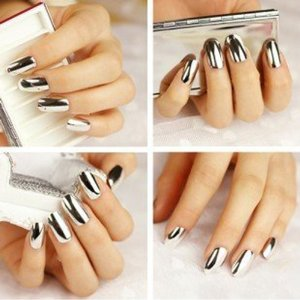 Amazon.com: 2* Fashion Super Star Nail Art Polish Gold and Silver Metallic Foil Sticker Patch Wraps Tips 32 Pcs for Women Girls Wife: Beauty