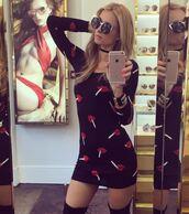 dress,mini dress,lip print,sunglasses,choker necklace,bodycon dress,paris hilton,instagram,jewels,jewelry,necklace,black choker,celebrity style,celebrity,celebstyle for less