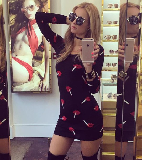 dress mini dress lip print sunglasses choker necklace bodycon dress paris hilton instagram jewels jewelry necklace black choker celebrity style celebrity celebstyle for less