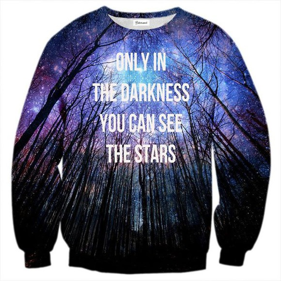 sweater pullover violet blue mauve darkness stars trees