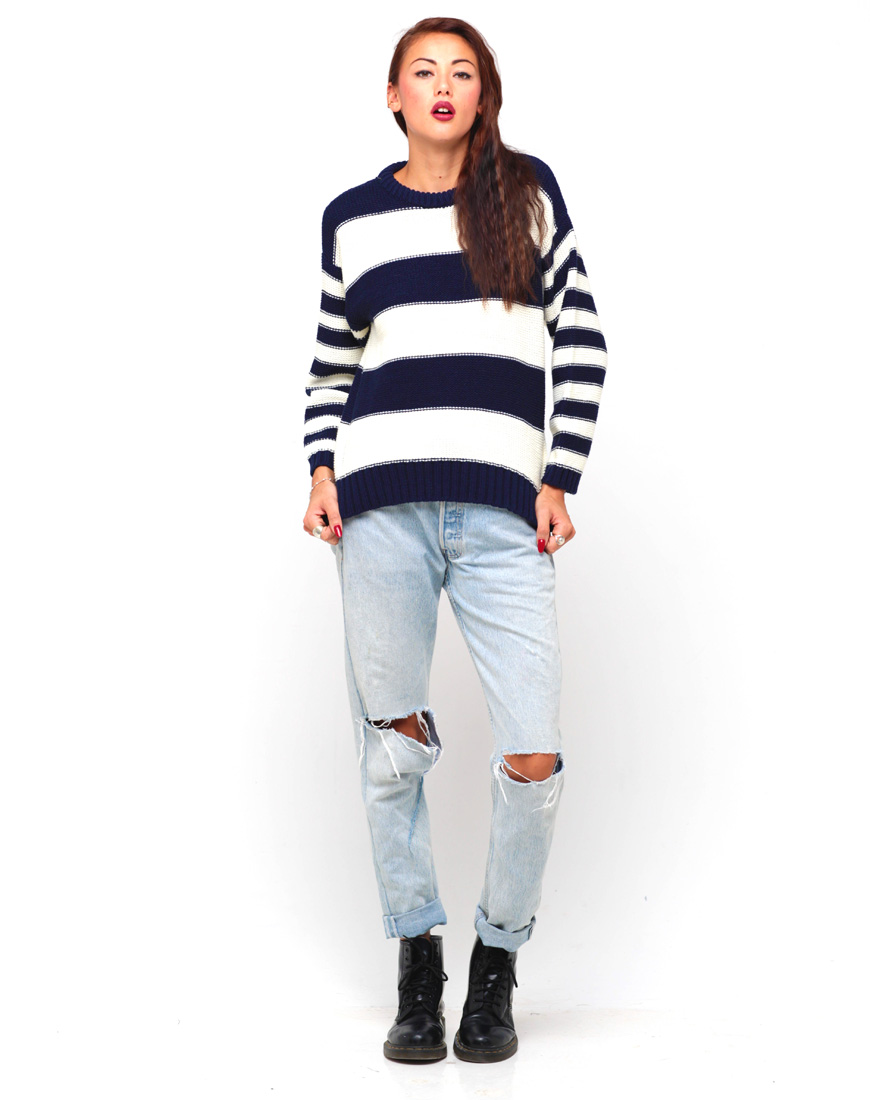 Buy Motel Lyon Stripe Knit Jumper in Cream and Navy at Motel Rocks