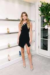 dress,little black dress,mini dress,one shoulder dress,one shoulder,nina agdal,celebrity