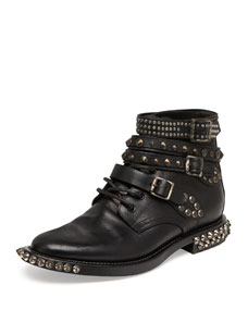 Saint Laurent Rangers Studded Ankle Boot, Black