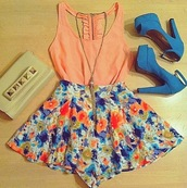 shorts,nude clutch,peach blouse.,flowered shorts,shirt,shoes,blouse,tank top,coral tank,detailed back,ruffle,dress,skirt,floral skirt,blue skirt,girly,clutch,white studded clutch,ribbon,bow,floral details,heels,high heels,bag,corail,pretty,beautiful,summer dress,like,floral,orange blouse,blue high heels,necklace,short length,flowy,bright,colorful,pink shirt,jewelry,jewels,flowers,top,pumps,2 piece skirt set