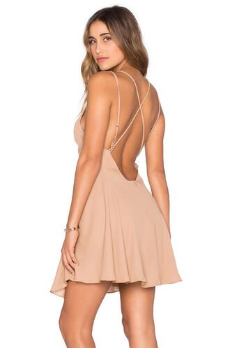 dress mini dress cross mini back tan