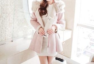 coat pink pink trench coat pastel fur trench coat