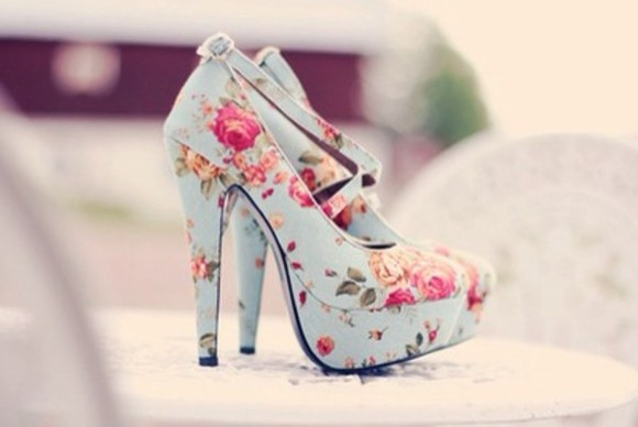 floral shoes light blue cute high heels