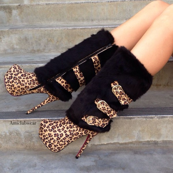 shoes leopard print boots high heels boots