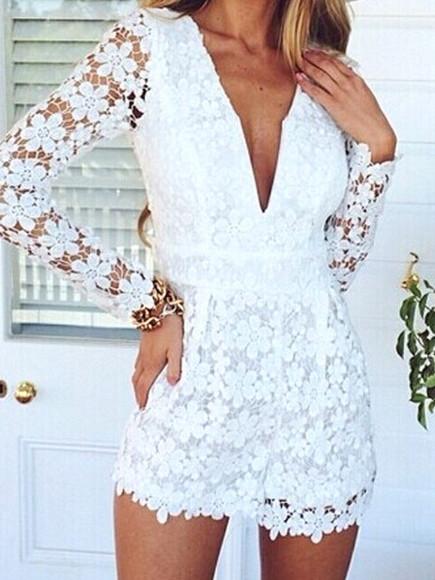 sexy white deep v neck crochet lace playsuit