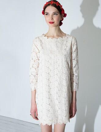 dress pixiemarket shift dress ivory dress cute dresses korean style cute dress daisy print dolce and gabbana korean fashion