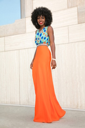 blogger,maxi skirt,orange,blue top,teal,black girls killin it