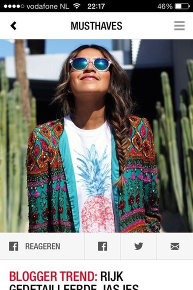 jacket festival cardigan coachella sunglasses nice details pineaplle colours pineapple t-shirt